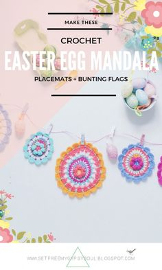 Free Crochet Pattern | How to make an Easter Egg Mandala For Placemats, Coasters And Easter Bunting Flags