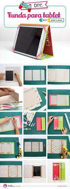 DIY: Cómo hacer una funda para tablet con papel #scrap #tutorial #manualidades…