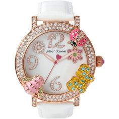 Betsey Johnson Women's White Leather Strap Watch 44mm BJ00364-03 ($125) ❤ liked on Polyvore featuring jewelry, watches, no color, betsey johnson, betsey johnson jewellery, crystal watches, betsey johnson watches and crystal jewelry