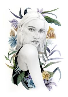 Chica con flores tropicales. Tropicana. por naranjalidad en Etsy, €15.00