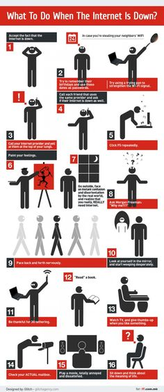 """l tech/geek category tend to be aimed at a larger audience. For example, the infographic below, """"What to Do When the Internet Is Down,"""" i"""
