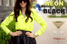 Neon and Black... the bold and chic combination. Would you give a try to this look ladies?