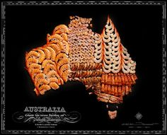 Food map of Australia ~~~ Carte d'Australie en nourriture ~~~ ~~~ Source : Henry Hargreaves with Caitlin Levin & Sarit Melmed ~~~ Piu Design Shrimp On The Barbie, Recipe Icon, Native Foods, Food Map, Australia Map, Australia Tattoo, Australia Funny, Country Maps, Wall Maps
