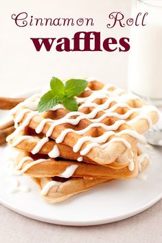 Overnight Cinnamon Roll Waffles - make them the day before for Christmas morning breakfast. Taste just like a cinnamon roll!