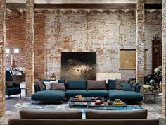 The exposed brick wall has a highly qualified aesthetic living room. Making the room more artistic. The brick texture on the interior always steals the attentio Loft Design, House Design, Wall Design, Living Area, Living Spaces, Loft Spaces, Interior Decorating, Interior Design, Decorating Blogs