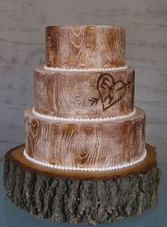 Wedding Cake of the Day: Rustic Wood Cake for Sari!.. Pretty awesome!!! Perfect for my country theme i want!!