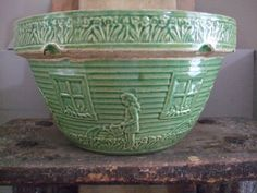 Old Green Crock Bowl...adorable...little girl in garden watering her flowers.