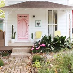 Sophie Loghman's rainbow-infused airbnb in Atlanta's Cabbagetown neighborhood is an homage to colorful living. Step inside her candy-colored paradise. Warning: You'll never want to leave after you see the pink fridge. Pink Fridge, House Colors, Cute House, Future House, Home, Curb Appeal, Airbnb Design, House Exterior, Home Decor Inspiration