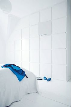 #storage #bedroom Wall of white cabinets; a small design dream of mine.