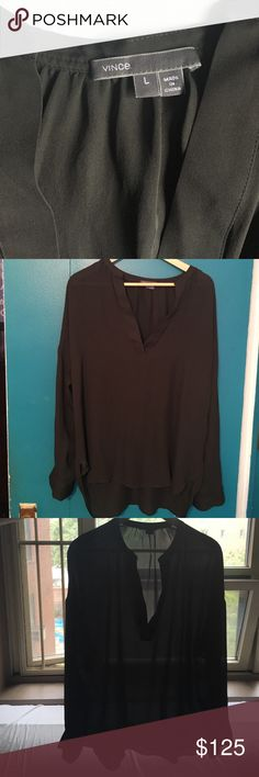 🌞Vince Elegant Black Silk Blouse 🌞Chic v-neck long sleeve silk blouse in excellent condition. Round neck with no collar and small side slits. Flowy & luxurious!! Vince Tops Blouses