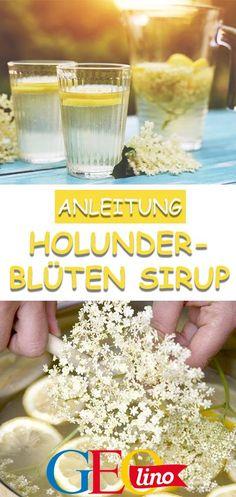 Wir zeigen euch, wie ihr aus Holunderblüten leckeren Holundersirup selbst machen könnt! #holunder #sirup #diy #doityourself #garten #rezept #kinderküche #kochenmitkindern