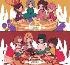 Kiki, Sophie, Chihiro, Ponyo Tombo, Howl, Haku, Sosuke