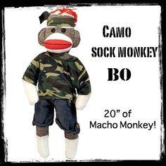 "Camo Sock Monkey - BO - 20"""