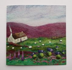 Thistle Cottage Printed Greetings Card  This greetings card is a high quality, professional print of one of my Handmade Felt Landscapes.  The