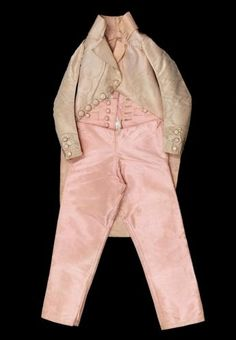 COAT AND PANTS THAT BELONGED TO LOUIS XVII LOUIS CHARLES OF FRANCE, DUKE OF NORMANDY (1785 - 1795)  1792 Pink silk taffeta, round wooden covered son of roses silk buttons.