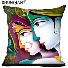 Radha Krishna Pillowcase Cover - Square zipper Pillow Cover - 20x20cm,35x35cm(one side)