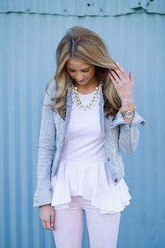 Denim jacket + white peplum + baubles + pink jeans