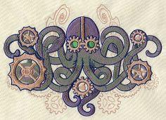 Mechanica Aquatica - Octopus design (UT4967) from UrbanThreads.com