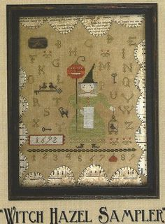 Primitive cross stitch pattern Witch Hazel Sampler from With Thy Needle and Thread...BOO!