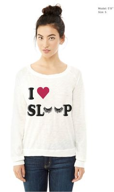 Womens Vintage I LOVE SLEEP Tee Top Shirt Print Tumblr Trendy Long Sleeve Pullover Raglan Sweater Sweatshirt TShirt 100% Cotton S M L XL  Slouchy
