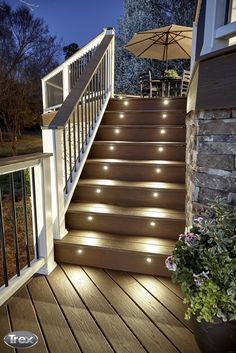 Better Homes Gardens shares 14 ways that you can improve your deck including adding Trex Deck Lighting to your stairs and railing posts outdoorliving backyard deck patio porch decklighting outdoorlighting costtobuildadeck Deck Stair Lights, Deck Stairs, Stair Lighting, Deck Railings, Lighting Ideas, Deck Post Lights, Solar Lights For Deck, Stairs Outside The House, Lighting Design