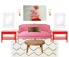 Pink  + Red Living Room