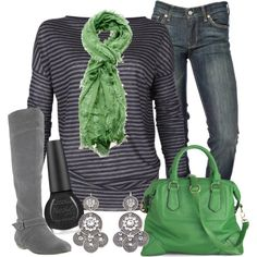 Love stripes!!...and green!!.....and boots!!
