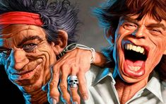 michel achard - The Rolling Stones Mick Jagger & Keith Richards Mick Jagger Rolling Stones, The Rolling Stones, Funny Caricatures, Celebrity Caricatures, Celebrity Drawings, Tattoo Brazil, Rolling Stones Keith Richards, Pictures Of Rocks, Cinema Tv