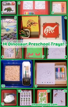 Learn about dinosaurs big and small with our 14 Dinosaur Preschool Trays! Dinosaurs Preschool, Dinosaur Activities, Dinosaur Crafts, Educational Activities For Kids, Preschool Themes, Alphabet Activities, Dinosaur Party, Tot Trays, Little Learners