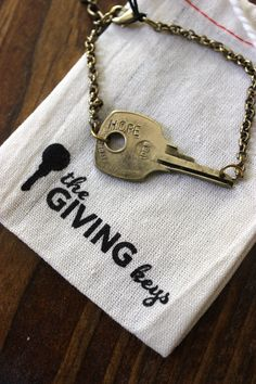 Giving keys - necklaces and bracelets hand engraved by transitioning homeless people in America, you keep it for a while and then pass it on to someone you think needs it more...