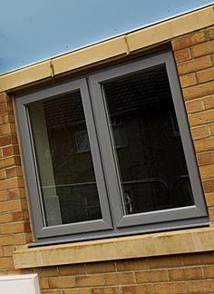 "Bit too ""thick"" need ashlar surround to soften Grey Windows, Timber Windows, Aluminium Windows, Wooden Windows, House Windows, Windows And Doors, Door Design, House Design, Residential Windows"