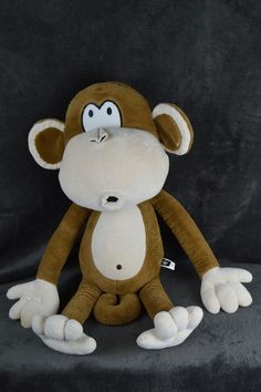 "Bobby Jack HUGE 30"" plush stuffed animal pillow buddy SOFT AWESOME monkey #BobbyJack #plushmonkey"