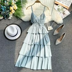 Spring style sling V collar sleeveless layer cake dres Cute Casual Outfits, Pretty Outfits, Pretty Dresses, Beautiful Dresses, Casual Dresses, Summer Dresses, Formal Dresses, Teen Fashion Outfits, Girl Outfits
