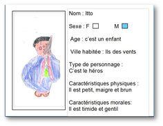 """Carte d'identite réalisée à partir du livre """"Itto le pêcheur des vents"""" par Simon. Pour voir la notice de ce livre, il faut cliquer sur mon dessin."""