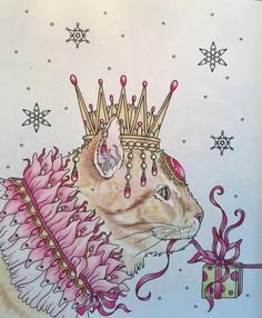 Gabby in a pink petal collar with garnet jeweled crown.  Still the background to do on this WIP ❄️ #tidevarv #hannakarlzon #bayan_boyan #fang_colourful_world999 #coloringhabit #colorindolivros #coloring_repost #coloringmasterpiece #coloring_masterpiece #divasdasartes #arte_e_colorir #artecomoterapia #art #arttherapy #mycreativeescape #carandache #prismacolor #prismacolorpremier #crayolacoloredpencils #adultcoloringbook #adultcolouringbook #cat #gingercat #carlangel5 #isuckatbackgr...