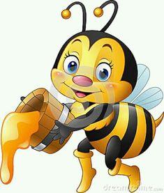 Cartoon bee holding bucket with honey dripping. Illustration of Cartoon bee hold , Happy Cartoon, Cartoon Pics, Cartoon Drawings, Cute Cartoon, Bumble Bee Cartoon, Honey Bee Cartoon, Good Morning Cartoon Images, Bee Pictures, Good Morning Animation