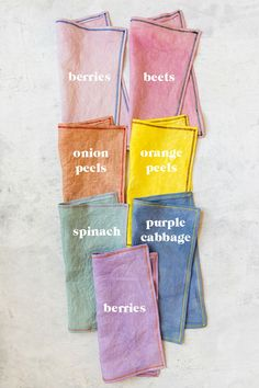 Dye in every shade of the rainbow using natural ingredients and DIY Napkins We're cooking up a storm with Le Creuset's newest colors! Come learn how to make dyes in every shade of the rainbow using natural ingredients! Le Creuset, Natural Dye Fabric, Natural Dyeing, Diy Natural Tie Dye, Natural Linen, Ideias Diy, Linen Napkins, Folding Napkins, Cloth Napkins
