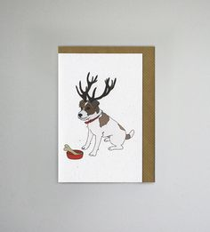 Illustrated Deer Jack Russell Blank Card | Etsy