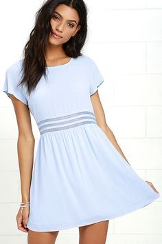 Step out in style with the Funky Fresh Periwinkle Mesh Dress! Woven fabric forms a rounded neckline and wide-cut bodice, framed by fluttering short sleeves. Bands of sheer mesh accent the waist while a lightly flared skirt falls below. Hidden side zipper.