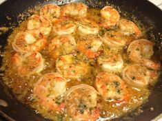 Famous Red Lobster Shrimp Scampi                    1 lb medium shrimp, peeled and deveined 1 tablespoon pure olive oil 2 tablespoons garlic, finely chopped 1 1/2 cups white wine, I use chardonnay 1/2 fresh lemon, Juice only 1 teaspoon italian seasoning 1/2 cup softened butter 1 tablespoon parsley 1/2 cup grated parmesan cheese