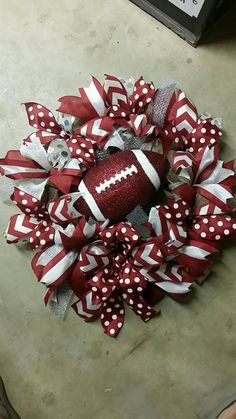 Items similar to Maroon Silver and White Wreath Accented with Maroon and White Glittered Football on Etsy Fall Wreaths, Christmas Wreaths, Sports Wreaths, White Wreath, Wreath Crafts, Football, Holiday Decor, Unique Jewelry, Handmade Gifts