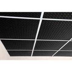 Visit The Home Depot to buy Ceilume Diamond Plate Black 2 ft. x 2 ft. Lay-in or Glue-up Ceiling Panel (Case of Ceiling Materials, House Trim, Ceiling Installation, Dropped Ceiling, Cost Saving, Ceiling Panels, Can Lights, Indoor Air Quality, New Construction