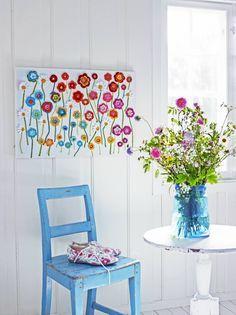 Easy Home Decor Flower Wall Hanging Crochet Wall Art, Crochet Wall Hangings, Crochet Decoration, Crochet Home Decor, Hanging Flower Wall, Hanging Wall Art, Home And Deco, Crochet Flowers, Diy And Crafts