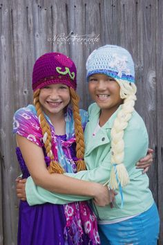 Elsa and Anna frozen inspired crochet hat pattern by mandag433