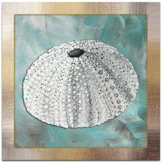 Metal Art Studio 'Silver Lining Sea Urchin' by Megan Duncanson Framed Satin-Matte Graphic Art on Metal Plaque Coastal Bathrooms, Coastal Living Rooms, Coastal Cottage, Coastal Farmhouse, Coastal Entryway, Coastal Decor, Coastal Lighting, Coastal Curtains, Coastal Rugs