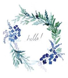 Lucy Bowes Design Greetings Card - Hello Flower Wreath How exactly to Watercolor Cards, Watercolour Painting, Watercolor Flowers, Painting & Drawing, Watercolors, Floral Wreath Watercolor, Watercolor Water, Watercolor Lettering, Deco Floral