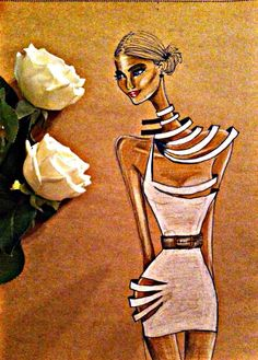 wear rose.. illustration women