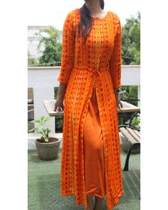 Orange Cotton Printed Front Slit Kurta