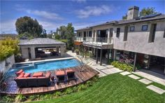 pool deck set-up Newport Beach, Newport Harbor, Pool Waterfall, Outdoor Spaces, Outdoor Decor, Outside Living, Pool Decks, Cool Pools, Pool Landscaping