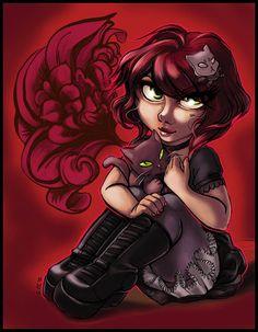 Goth Digital Art  Girl with Cat 8.5 x 11 Art by mtnlaurelarts